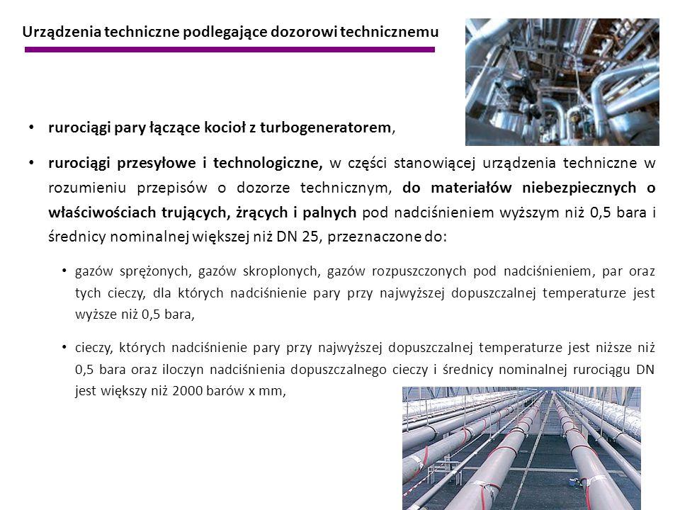 rurociągi pary łączące kocioł z turbogeneratorem, rurociągi przesyłowe i technologiczne, w części stanowiącej urządzenia techniczne w rozumieniu przep