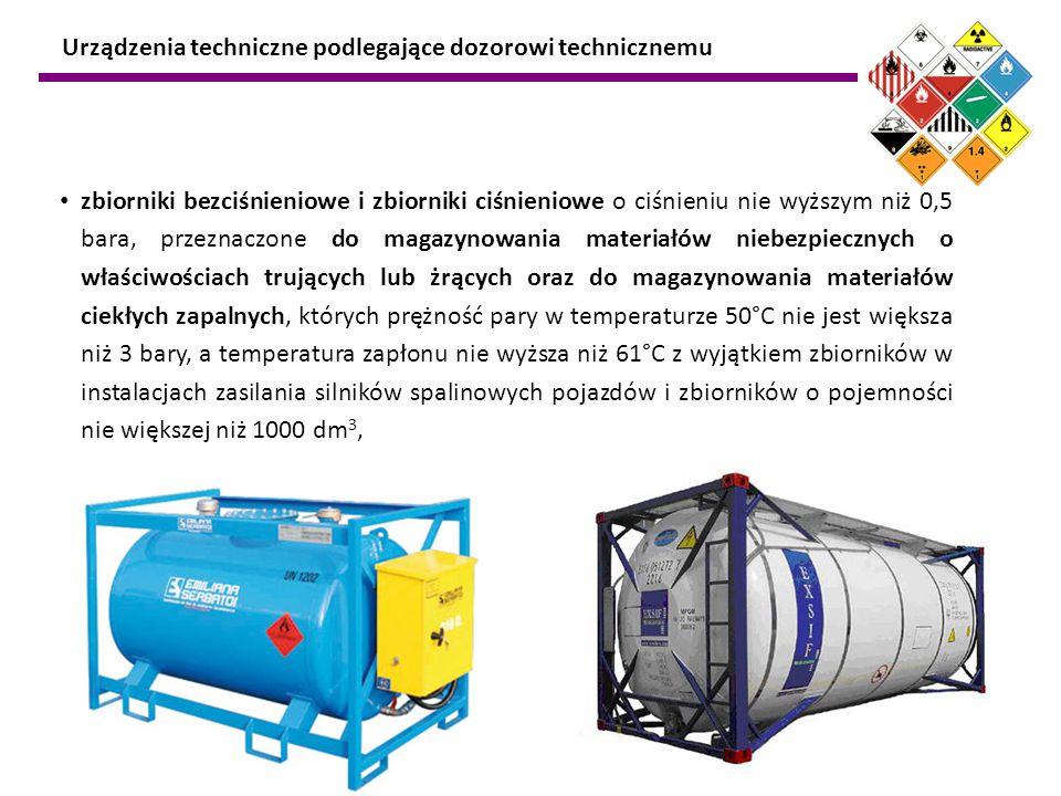 zbiorniki bezciśnieniowe i zbiorniki ciśnieniowe o ciśnieniu nie wyższym niż 0,5 bara, przeznaczone do magazynowania materiałów niebezpiecznych o właś