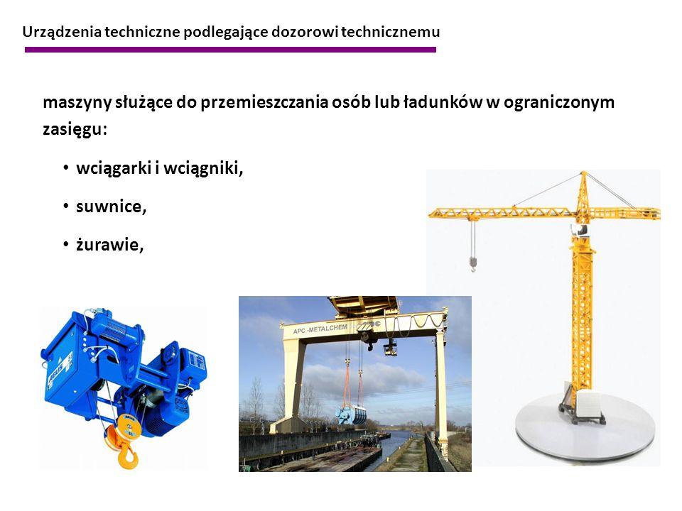 maszyny służące do przemieszczania osób lub ładunków w ograniczonym zasięgu: wciągarki i wciągniki, suwnice, żurawie, Urządzenia techniczne podlegając