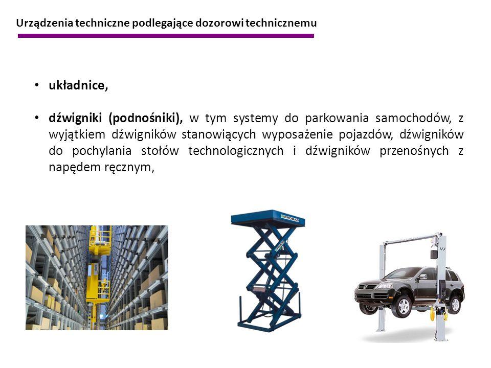 układnice, dźwigniki (podnośniki), w tym systemy do parkowania samochodów, z wyjątkiem dźwigników stanowiących wyposażenie pojazdów, dźwigników do poc