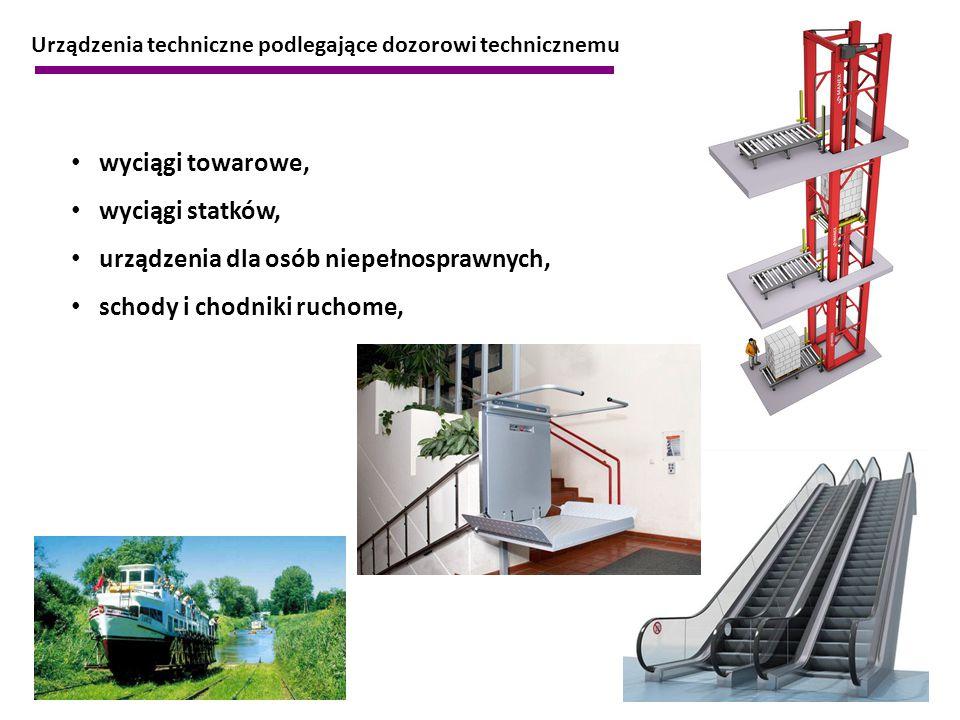 Urządzenia techniczne podlegające dozorowi technicznemu wyciągi towarowe, wyciągi statków, urządzenia dla osób niepełnosprawnych, schody i chodniki ru