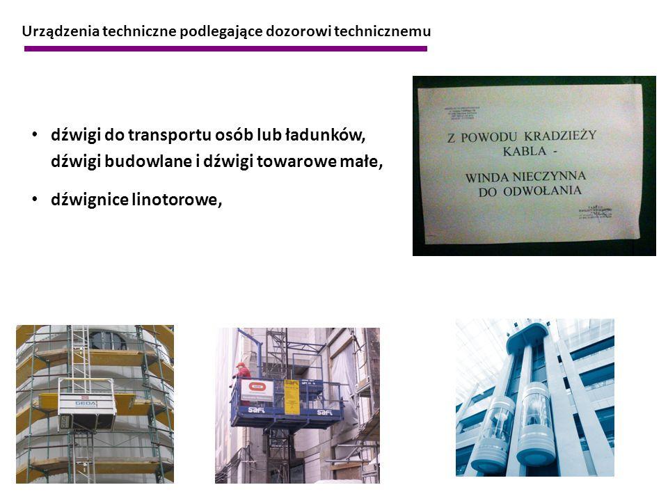 Urządzenia techniczne podlegające dozorowi technicznemu dźwigi do transportu osób lub ładunków, dźwigi budowlane i dźwigi towarowe małe, dźwignice lin