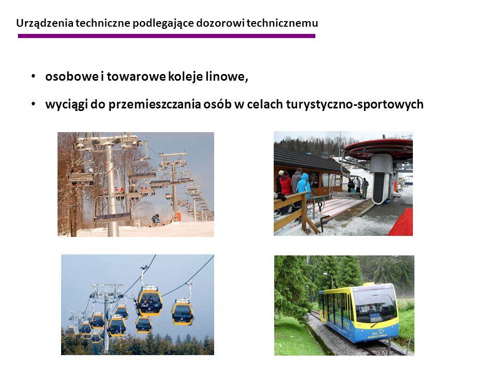 osobowe i towarowe koleje linowe, wyciągi do przemieszczania osób w celach turystyczno-sportowych Urządzenia techniczne podlegające dozorowi techniczn
