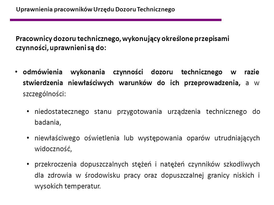 odmówienia wykonania czynności dozoru technicznego w razie stwierdzenia niewłaściwych warunków do ich przeprowadzenia, a w szczególności: Uprawnienia