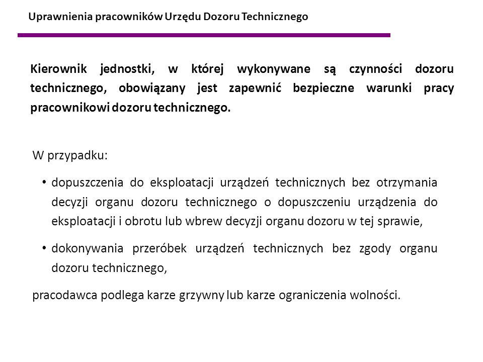 W przypadku: dopuszczenia do eksploatacji urządzeń technicznych bez otrzymania decyzji organu dozoru technicznego o dopuszczeniu urządzenia do eksploa