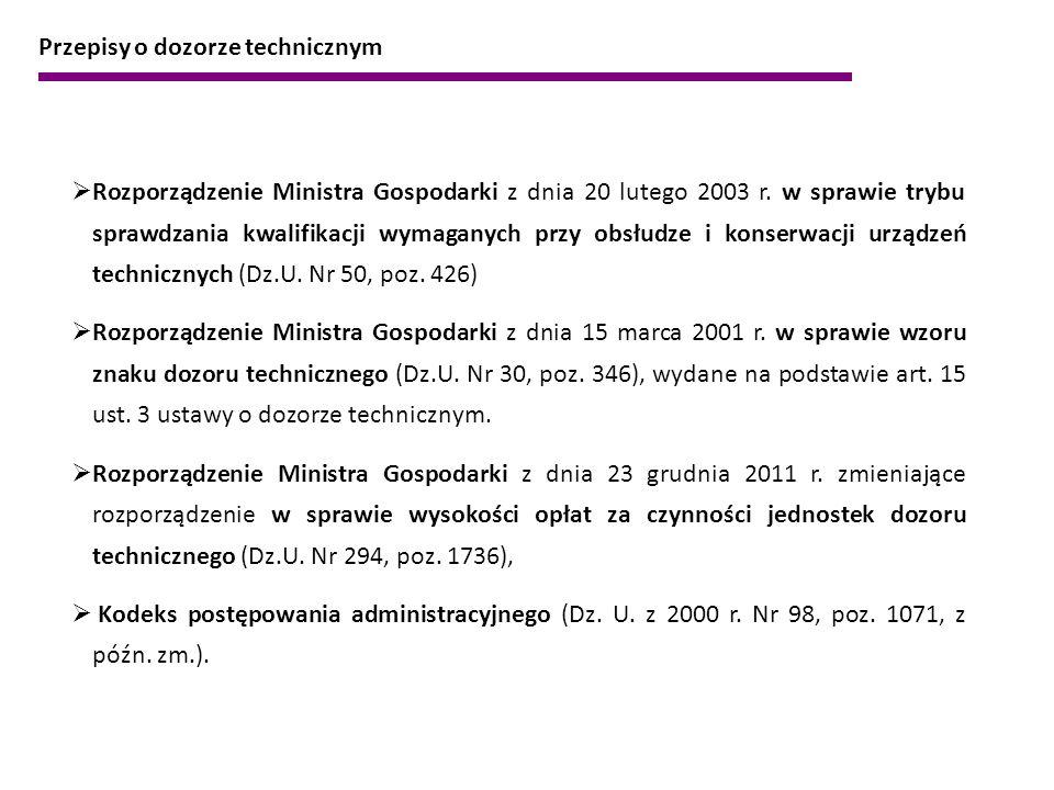  Rozporządzenie Ministra Gospodarki z dnia 20 lutego 2003 r. w sprawie trybu sprawdzania kwalifikacji wymaganych przy obsłudze i konserwacji urządzeń
