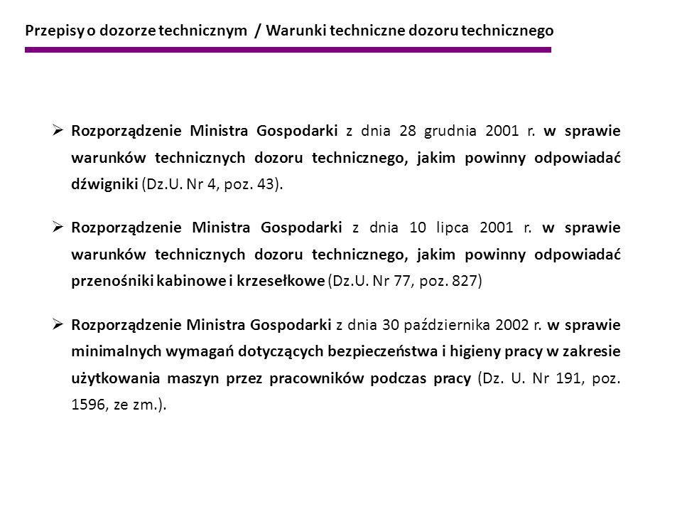  Rozporządzenie Ministra Gospodarki z dnia 28 grudnia 2001 r. w sprawie warunków technicznych dozoru technicznego, jakim powinny odpowiadać dźwigniki