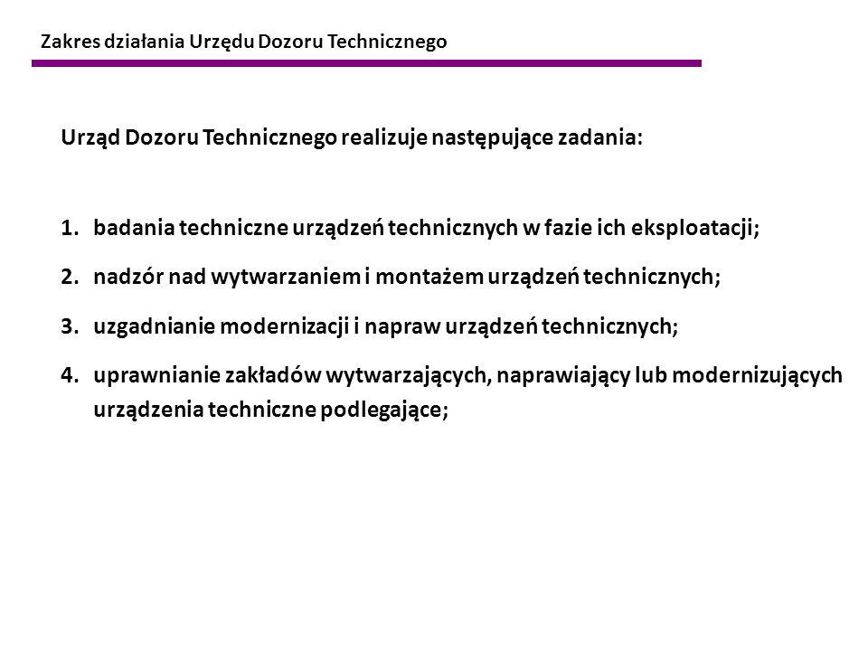 Urząd Dozoru Technicznego realizuje następujące zadania: 1.badania techniczne urządzeń technicznych w fazie ich eksploatacji; 2.nadzór nad wytwarzanie