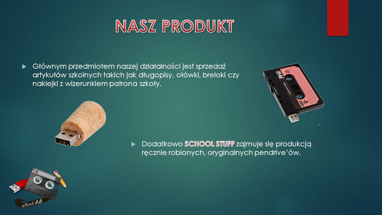  Głównym przedmiotem naszej działalności jest sprzedaż artykułów szkolnych takich jak długopisy, ołówki, breloki czy naklejki z wizerunkiem patrona s