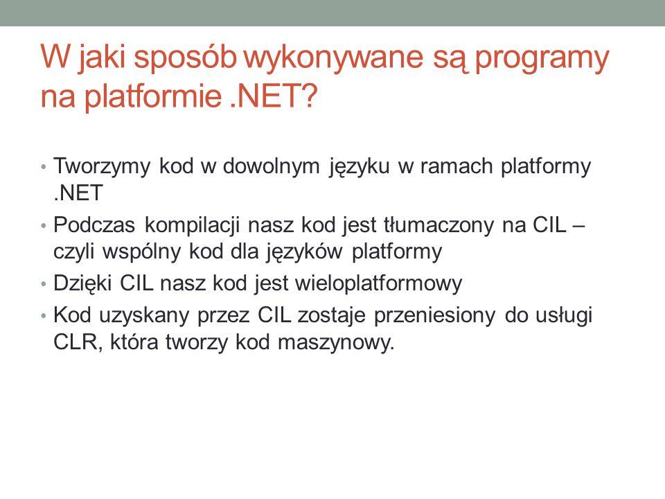 W jaki sposób wykonywane są programy na platformie.NET? Tworzymy kod w dowolnym języku w ramach platformy.NET Podczas kompilacji nasz kod jest tłumacz