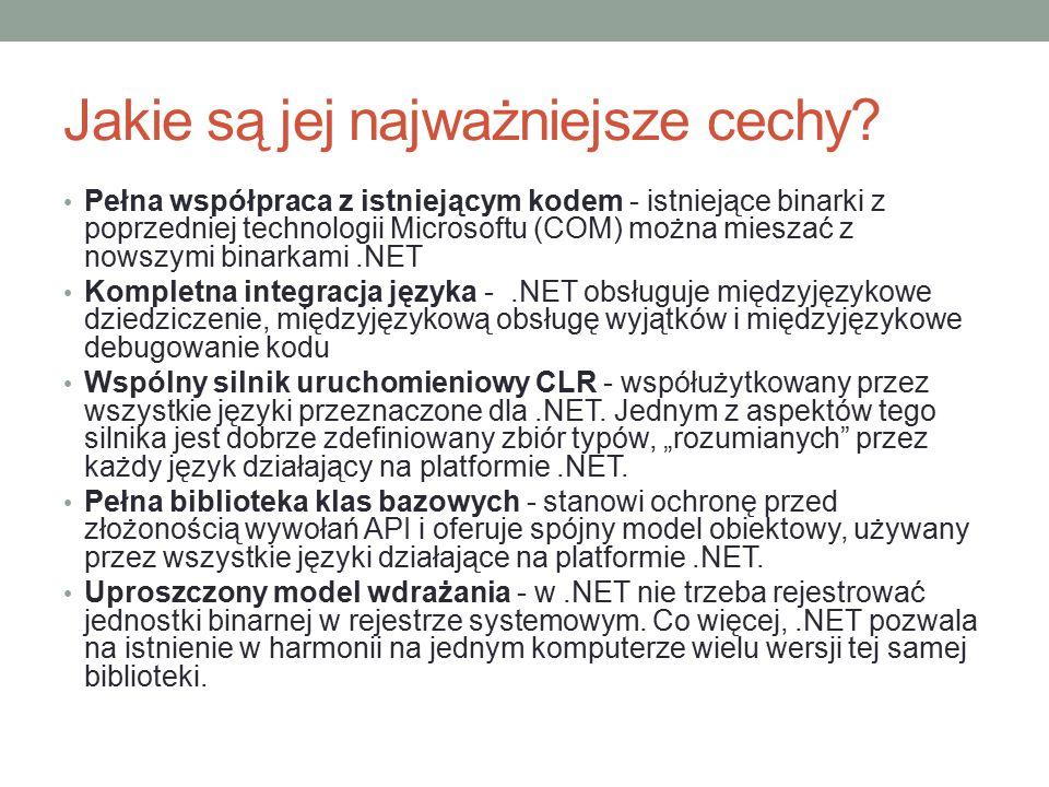 Jakie elementy składają się na platformę.NET.