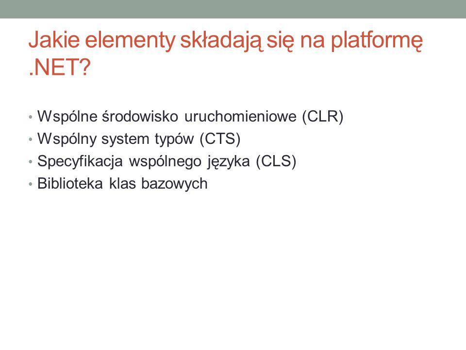 Jakie elementy składają się na platformę.NET? Wspólne środowisko uruchomieniowe (CLR) Wspólny system typów (CTS) Specyfikacja wspólnego języka (CLS) B
