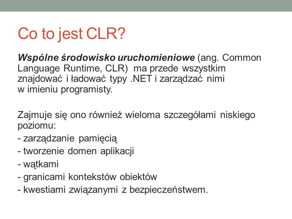 Co to jest CLR? Wspólne środowisko uruchomieniowe (ang. Common Language Runtime, CLR) ma przede wszystkim znajdować i ładować typy.NET i zarządzać nim