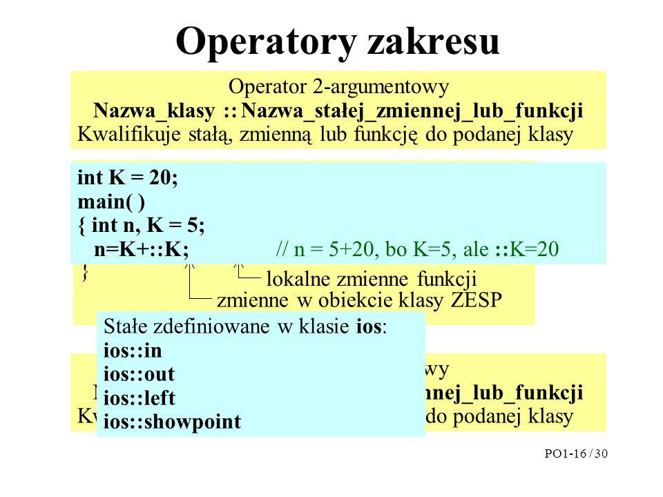 Operatory zakresu PO1-16 / 30 ZESP(double Re=0, double Im=0) { ZESP::Re = Re; ZESP::Im = Im; } lokalne zmienne funkcji zmienne w obiekcie klasy ZESP O