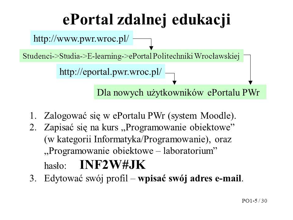 ePortal zdalnej edukacji PO1-5 / 30 http://eportal.pwr.wroc.pl/ http://www.pwr.wroc.pl/ Studenci->Studia->E-learning->ePortal Politechniki Wrocławskie