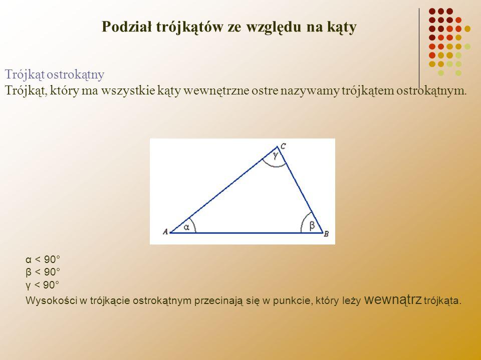 Trójkąt ostrokątny Trójkąt, który ma wszystkie kąty wewnętrzne ostre nazywamy trójkątem ostrokątnym. α < 90° β < 90° γ < 90° Wysokości w trójkącie ost