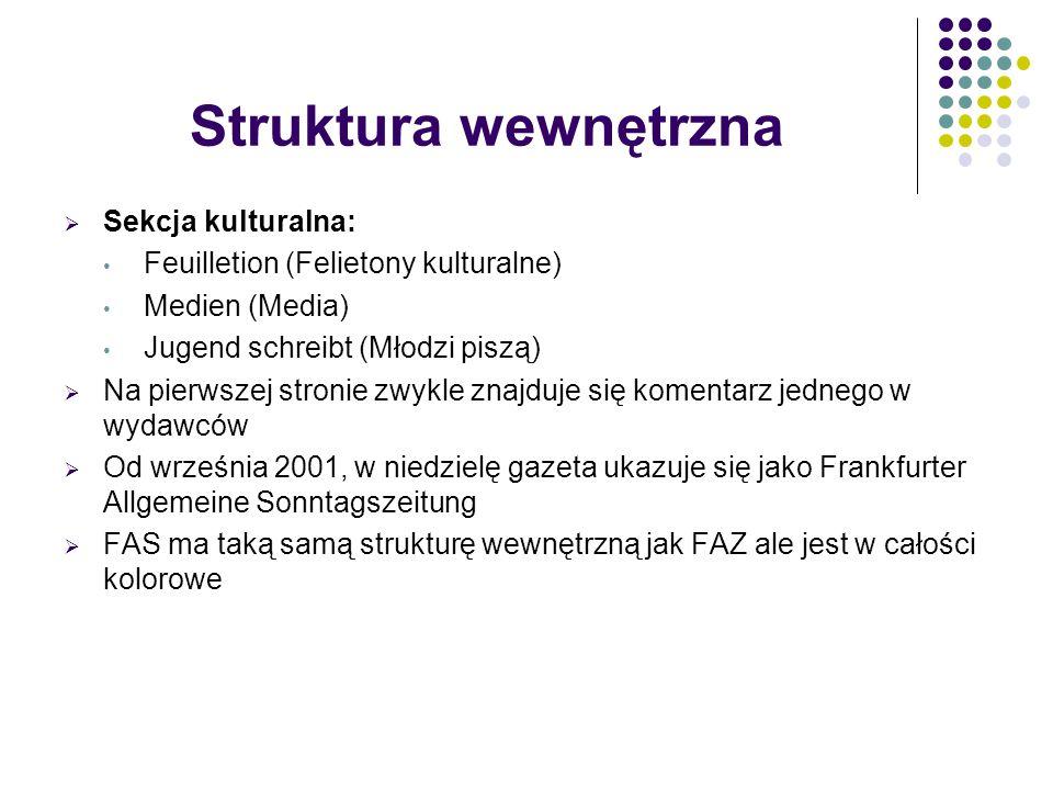 Struktura wewnętrzna  Sekcja kulturalna: Feuilletion (Felietony kulturalne) Medien (Media) Jugend schreibt (Młodzi piszą)  Na pierwszej stronie zwyk