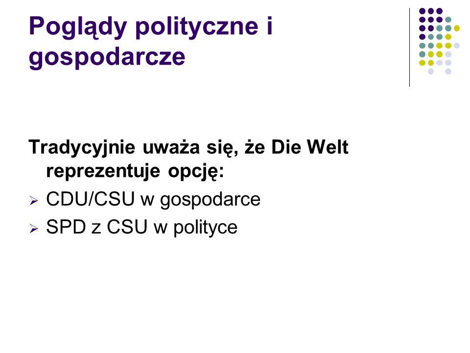 Tradycyjnie uważa się, że Die Welt reprezentuje opcję:  CDU/CSU w gospodarce  SPD z CSU w polityce