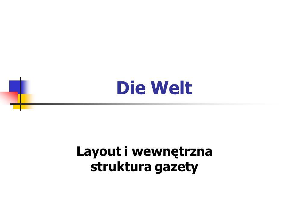 Die Welt Layout i wewnętrzna struktura gazety