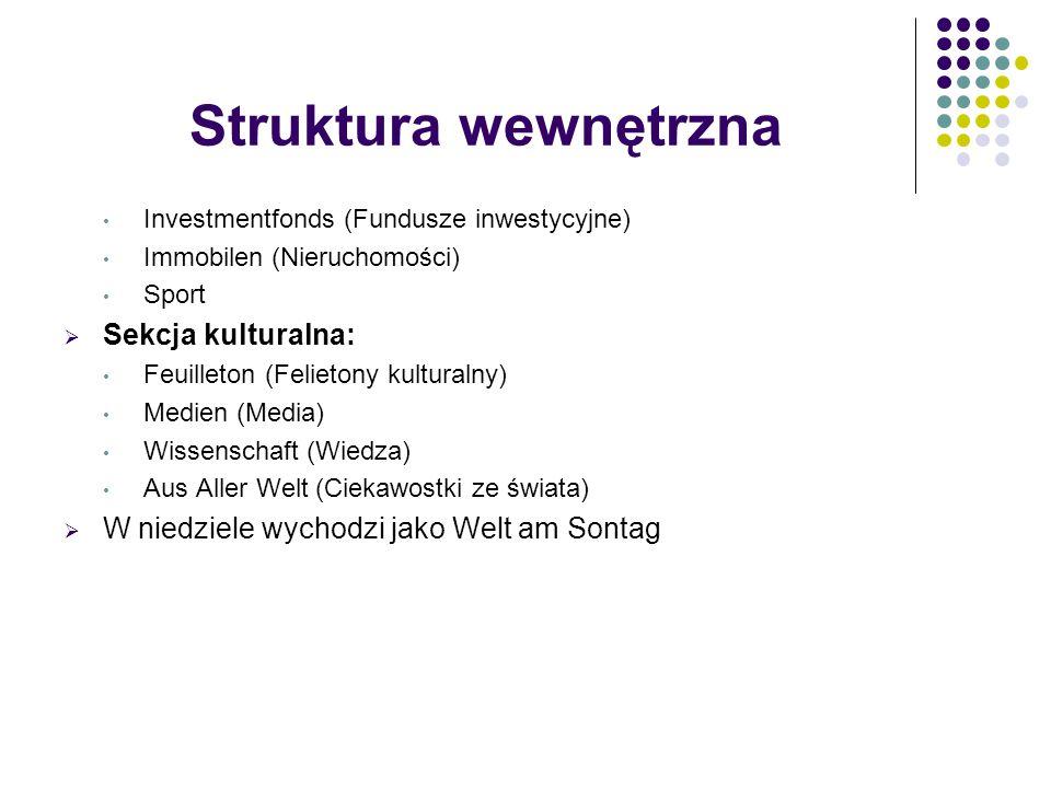 Struktura wewnętrzna Investmentfonds (Fundusze inwestycyjne) Immobilen (Nieruchomości) Sport  Sekcja kulturalna: Feuilleton (Felietony kulturalny) Me