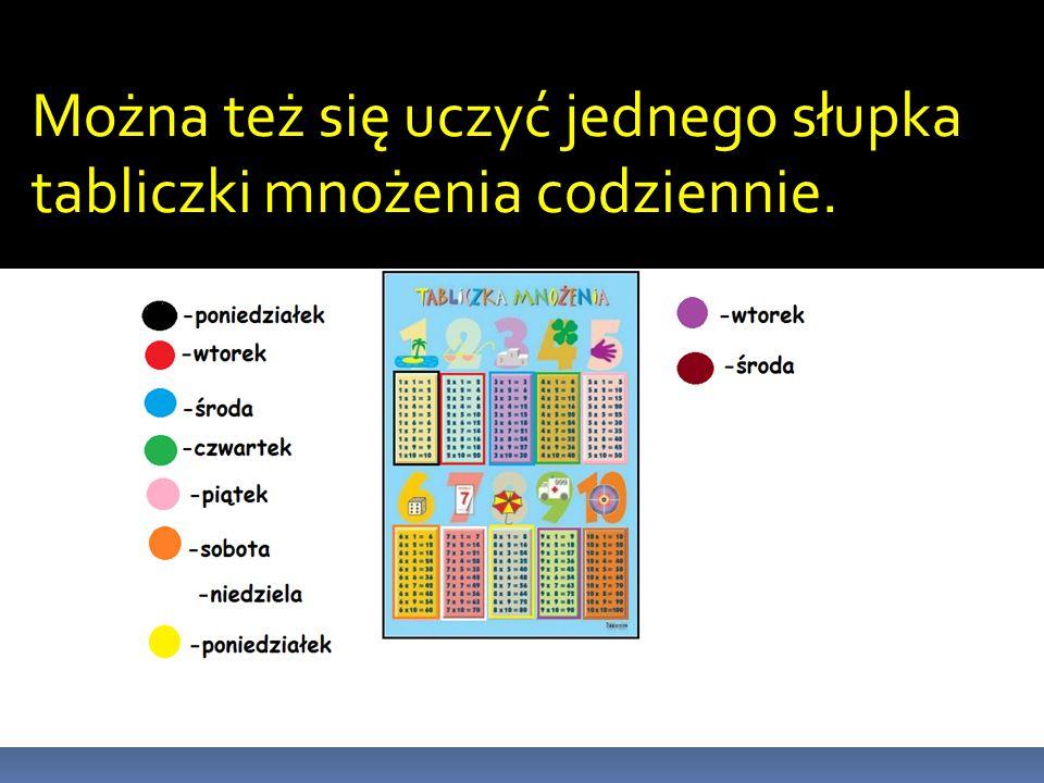 Tabliczka mnożenia na wesoło Jest to tabliczka w słupku uzupełniana w słupku: 1.Na samej górze tabeli są wpisane cyfry od 1 do 10.