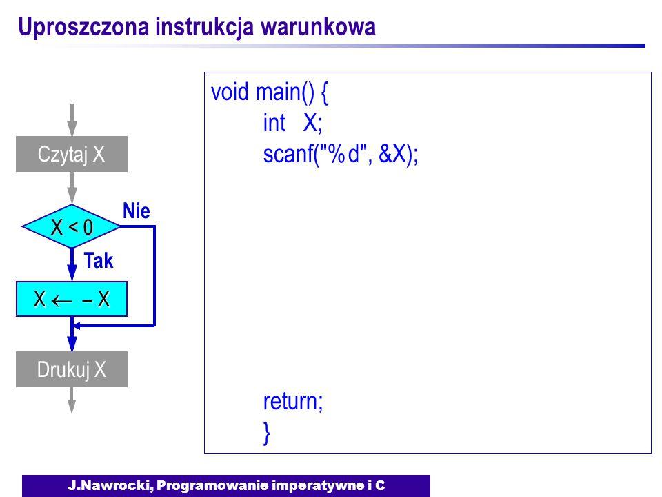J.Nawrocki, Programowanie imperatywne i C Uproszczona instrukcja warunkowa X < 0 Tak Nie Drukuj X Czytaj X X  – X void main() { int X; scanf( %d , &X); return; }