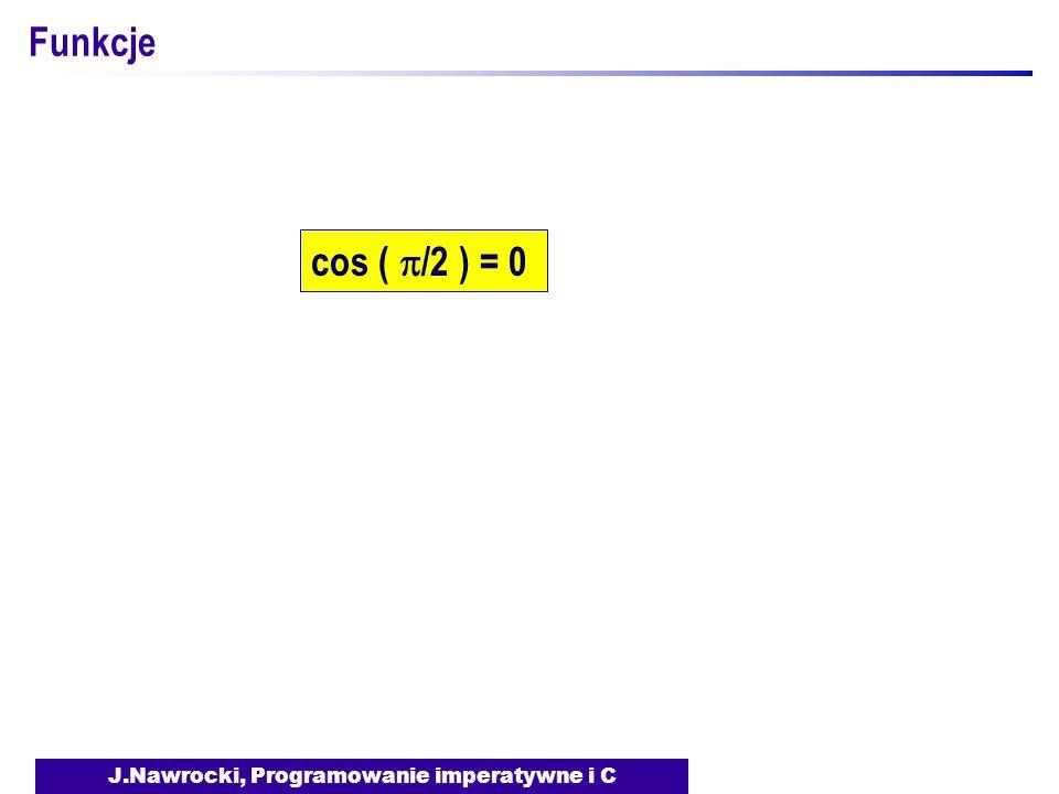 J.Nawrocki, Programowanie imperatywne i C Funkcje cos (  /2 ) = 0