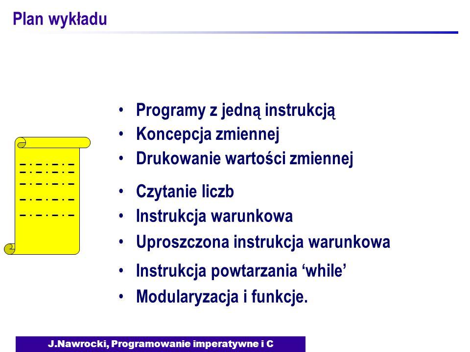 J.Nawrocki, Programowanie imperatywne i C Plan wykładu Programy z jedną instrukcją Koncepcja zmiennej Drukowanie wartości zmiennej Czytanie liczb Instrukcja warunkowa Uproszczona instrukcja warunkowa Instrukcja powtarzania 'while' Modularyzacja i funkcje.