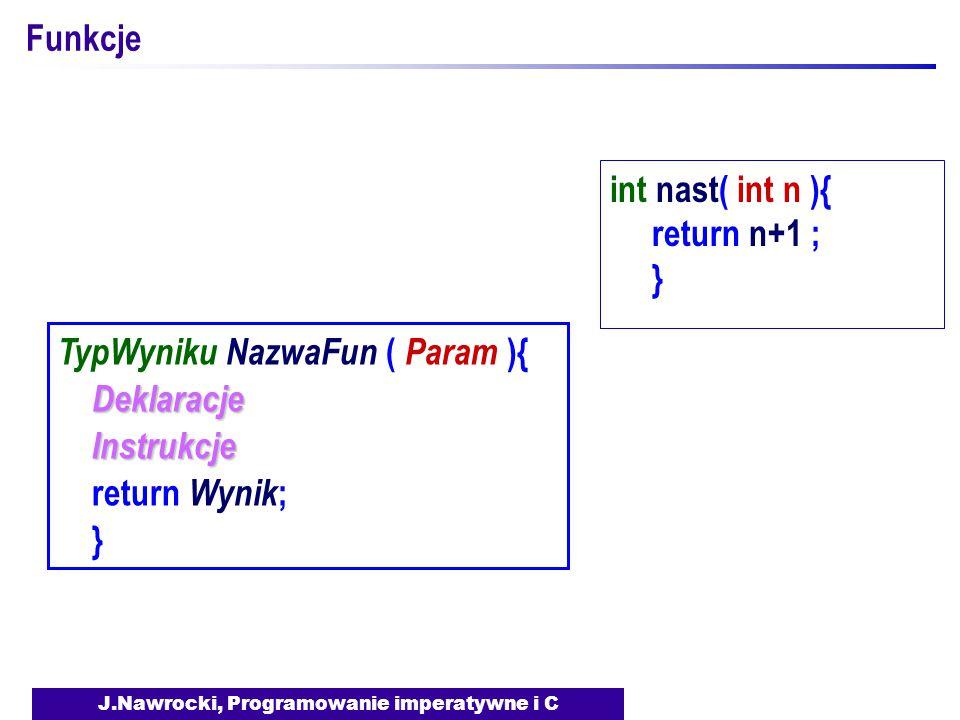 J.Nawrocki, Programowanie imperatywne i C Funkcje TypWyniku NazwaFun ( Param ){ Deklaracje Instrukcje Instrukcje return Wynik ; } int nast( int n ){ return n+1 ; }