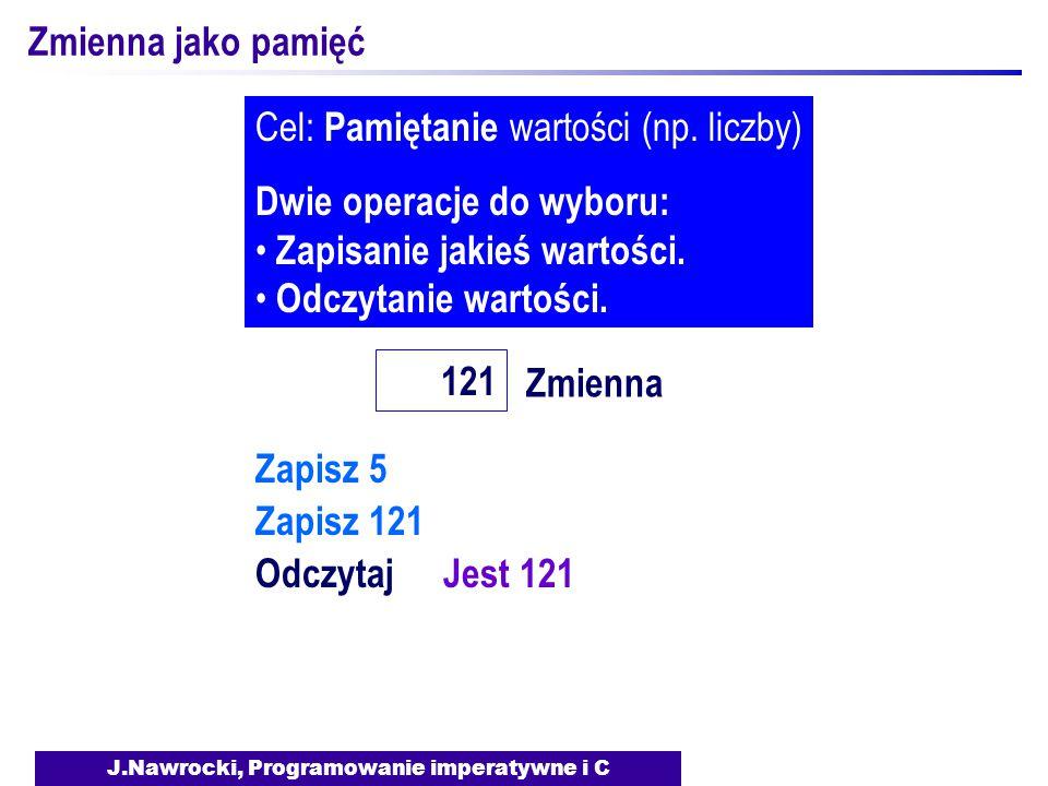 J.Nawrocki, Programowanie imperatywne i C Zmienna jako pamięć Zmienna 121 Cel: Pamiętanie wartości (np.