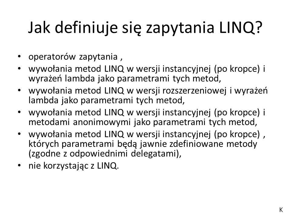 Jak definiuje się zapytania LINQ? operatorów zapytania, wywołania metod LINQ w wersji instancyjnej (po kropce) i wyrażeń lambda jako parametrami tych