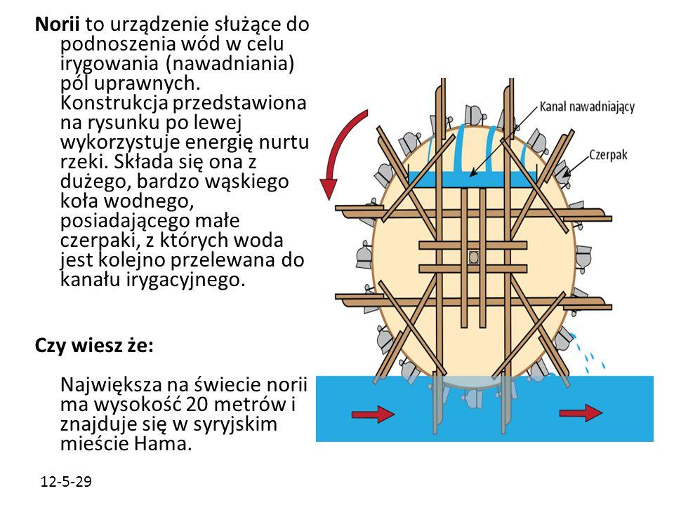 12-5-29 Norii to urządzenie służące do podnoszenia wód w celu irygowania (nawadniania) pól uprawnych. Konstrukcja przedstawiona na rysunku po lewej wy