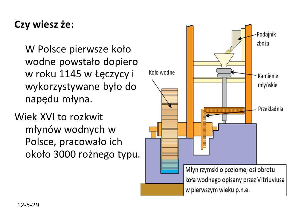 12-5-29 Czy wiesz że: W Polsce pierwsze koło wodne powstało dopiero w roku 1145 w Łęczycy i wykorzystywane było do napędu młyna. Wiek XVI to rozkwit m