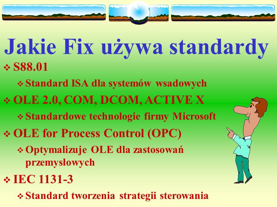 Opracowywanie systemu FIX Zalecana kolejność faz wykonania aplikacji: Zbieranie danych Zbieranie danych  konfigurowanie drajwerów We/Wy,  tworzenie bazy danych,  użycie konstruktora receptur, Zarządzanie danymi Zarządzanie danymi  tworzenie markopoleceń,  użycie skryptów języka poleceń,  zbieranie danych historycznych Prezentacja danych Prezentacja danych  tworzenie ekranów synoptycznych i wykresów,  generowanie raportów.