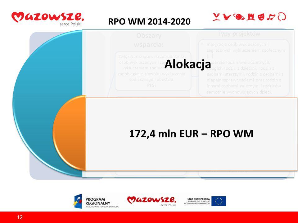 RPO WM 2014-2020 12 Źródło finansowania: EFS Obszary wsparcia: Typy projektów OŚ PRIORYTETOWA IX Wspieranie włączenia społecznego i walka z ubóstwem Z