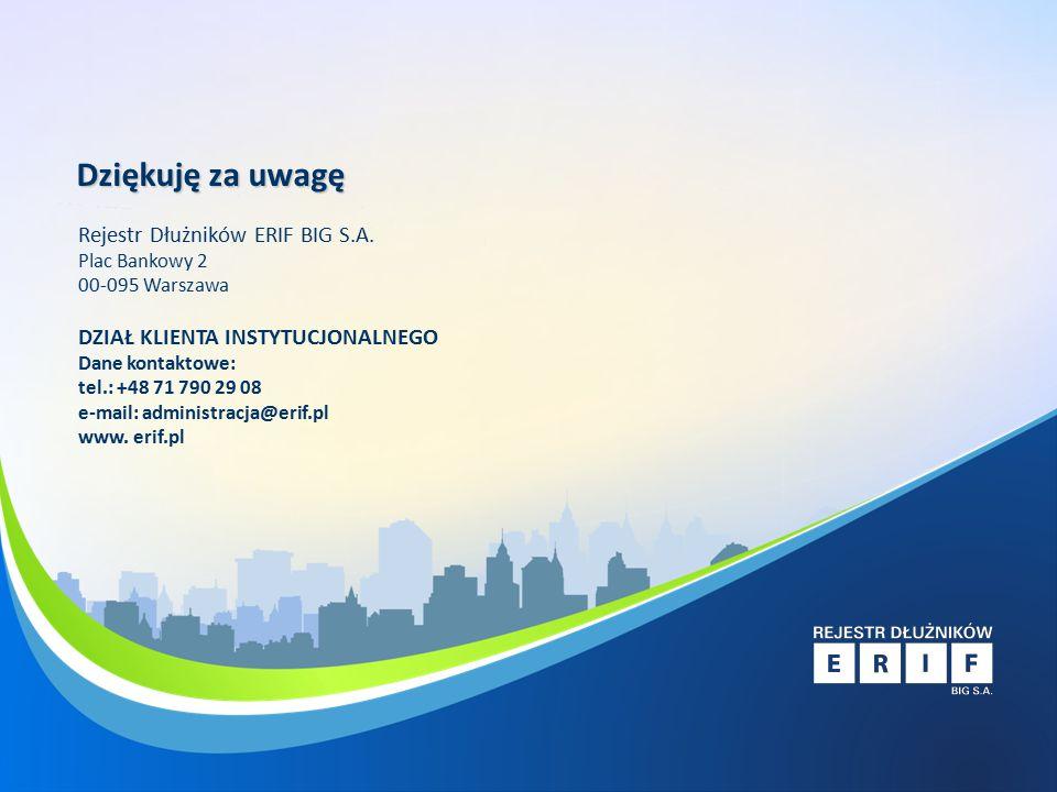 Rejestr Dłużników ERIF Narzędzie prewencji i windykacji dla jednostek samorządu Dziękuję za uwagę Rejestr Dłużników ERIF BIG S.A.