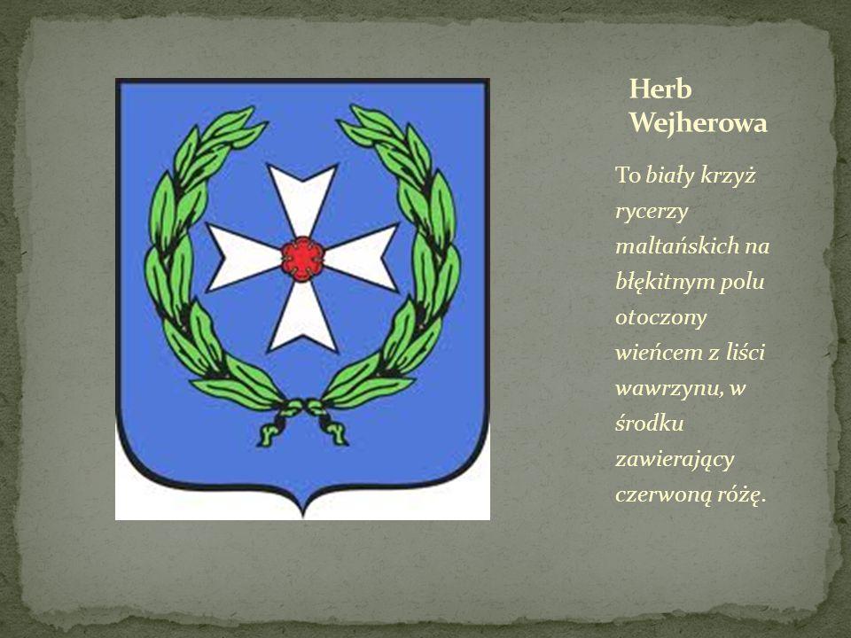 To biały krzyż rycerzy maltańskich na błękitnym polu otoczony wieńcem z liści wawrzynu, w środku zawierający czerwoną różę.