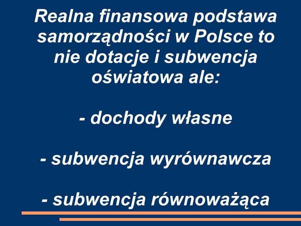 Realna finansowa podstawa samorządności w Polsce to nie dotacje i subwencja oświatowa ale: - dochody własne - subwencja wyrównawcza - subwencja równoważąca