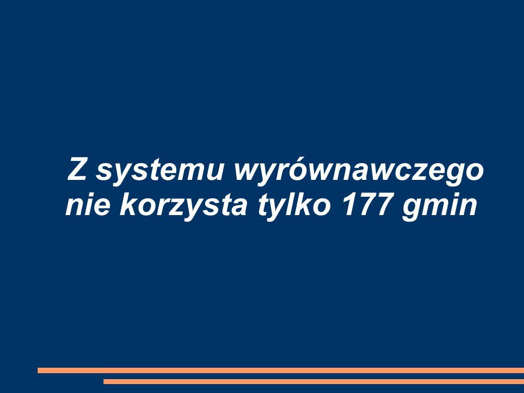 Z systemu wyrównawczego nie korzysta tylko 177 gmin