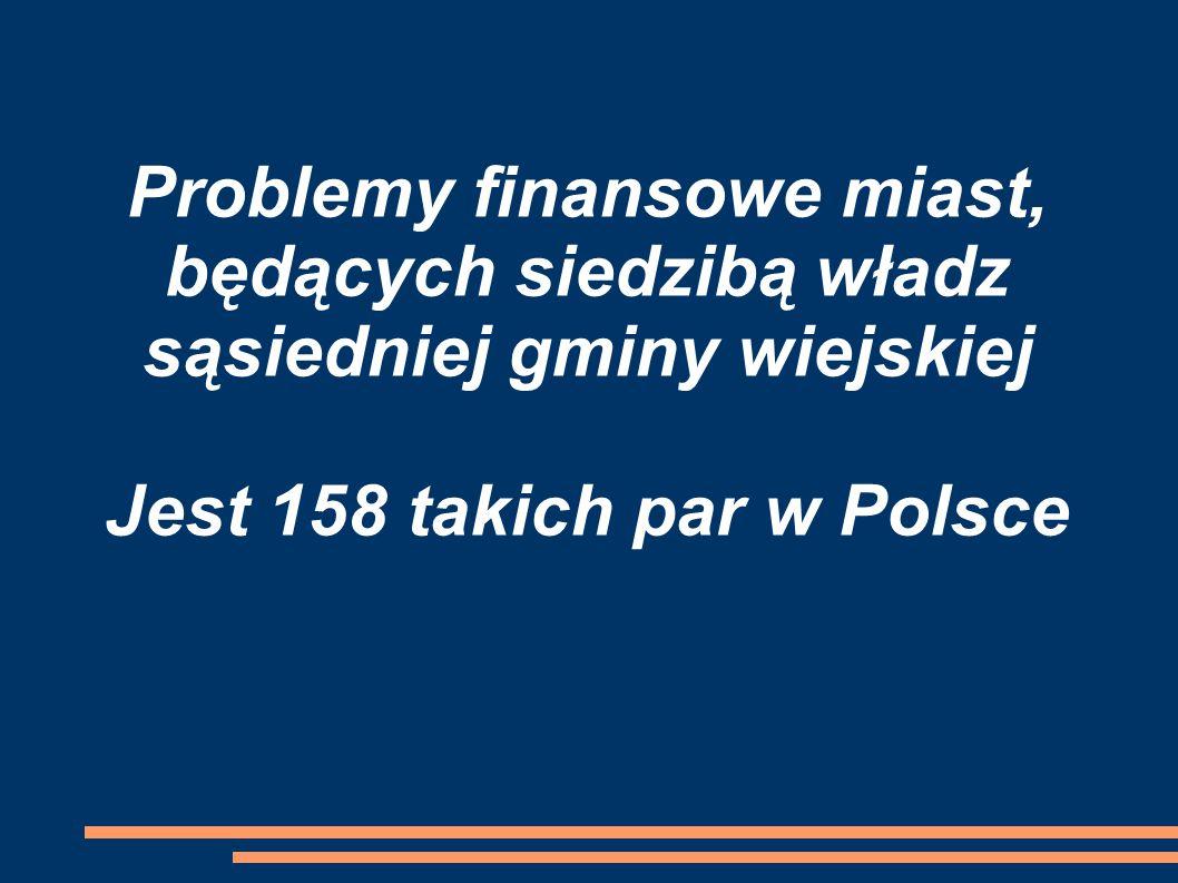 Problemy finansowe miast, będących siedzibą władz sąsiedniej gminy wiejskiej Jest 158 takich par w Polsce