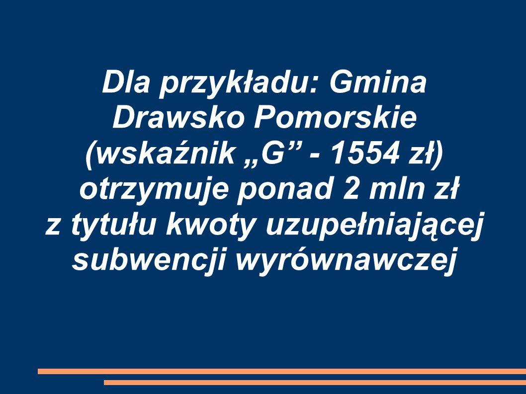 """Dla przykładu: Gmina Drawsko Pomorskie (wskaźnik """"G - 1554 zł) otrzymuje ponad 2 mln zł z tytułu kwoty uzupełniającej subwencji wyrównawczej"""