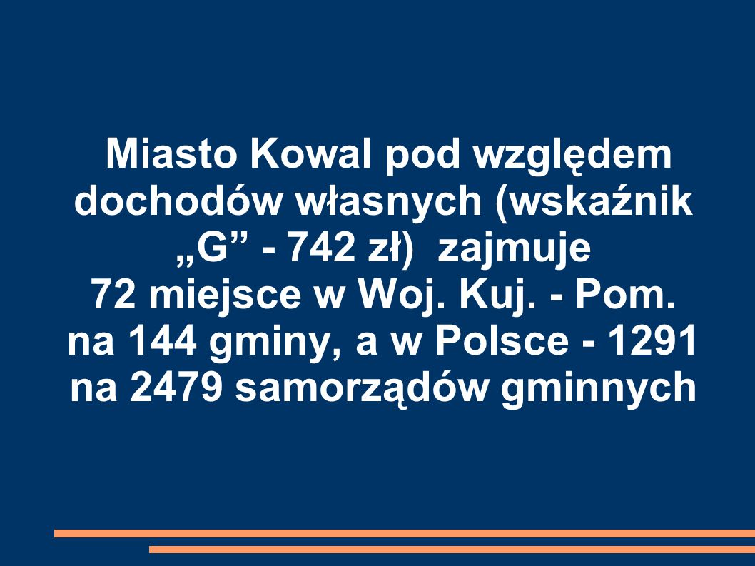 """Miasto Kowal pod względem dochodów własnych (wskaźnik """"G - 742 zł) zajmuje 72 miejsce w Woj."""