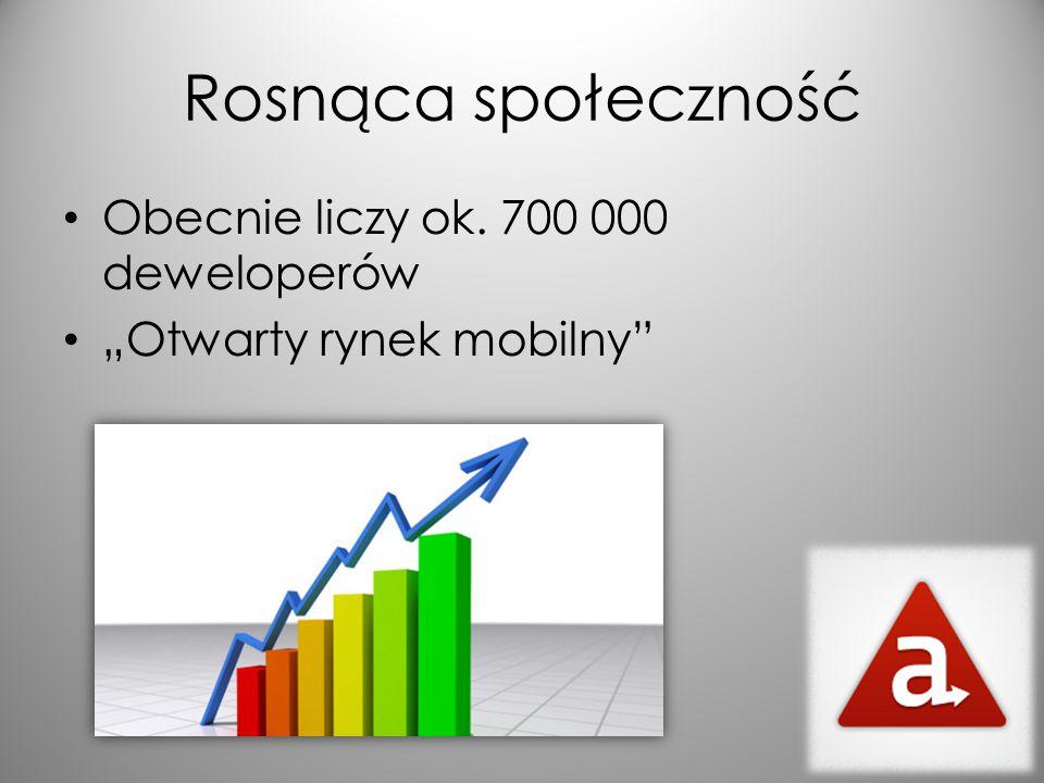 """Rosnąca społeczność Obecnie liczy ok. 700 000 deweloperów """"Otwarty rynek mobilny"""