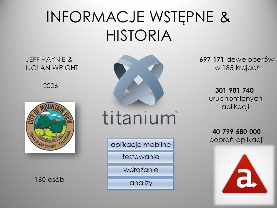 Titanium vs PhoneGap Typy aplikacji: -Natywne (Titanium) -Webowe -Hybrydowe (PhoneGap)
