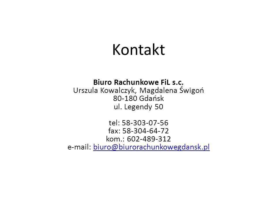 Kontakt Biuro Rachunkowe FiL s.c. Urszula Kowalczyk, Magdalena Świgoń 80-180 Gdańsk ul.