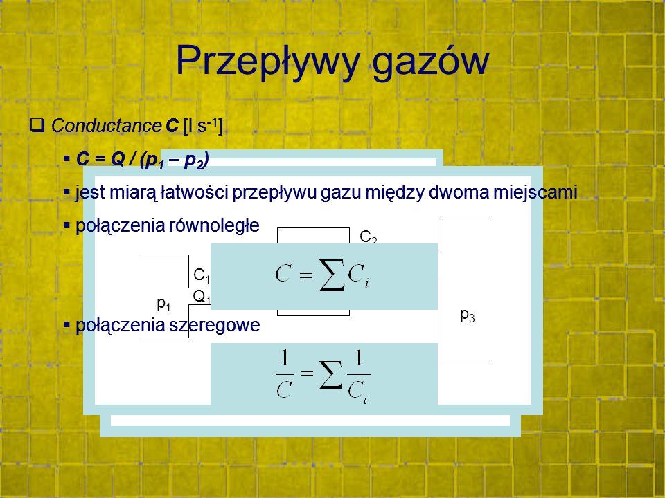 Przepływy gazów  Conductance C [l s -1 ]  C = Q / (p 1 – p 2 )  jest miarą łatwości przepływu gazu między dwoma miejscami  połączenia równoległe 