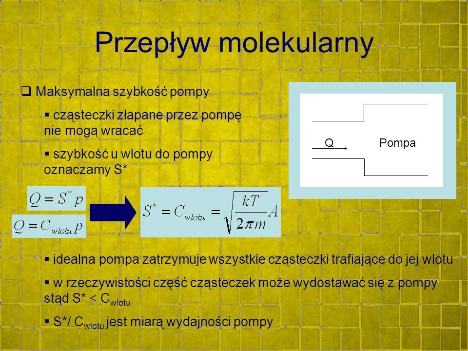 Przepływ molekularny  Maksymalna szybkość pompy  cząsteczki złapane przez pompę nie mogą wracać  szybkość u wlotu do pompy oznaczamy S* A QPompa 