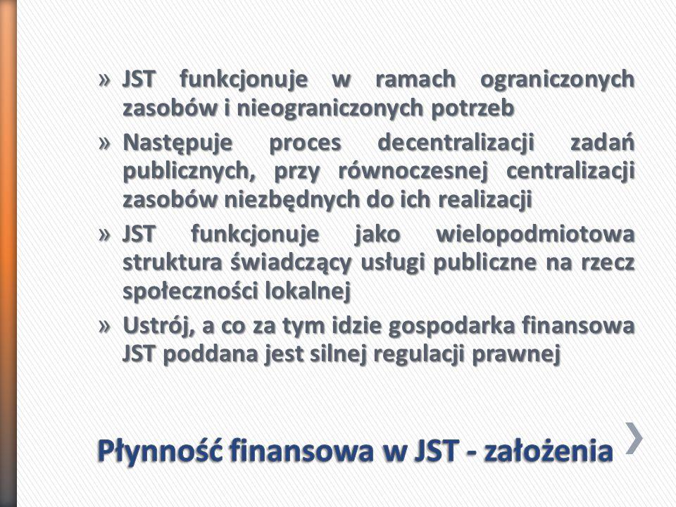 » JST funkcjonuje w ramach ograniczonych zasobów i nieograniczonych potrzeb » Następuje proces decentralizacji zadań publicznych, przy równoczesnej centralizacji zasobów niezbędnych do ich realizacji » JST funkcjonuje jako wielopodmiotowa struktura świadczący usługi publiczne na rzecz społeczności lokalnej » Ustrój, a co za tym idzie gospodarka finansowa JST poddana jest silnej regulacji prawnej