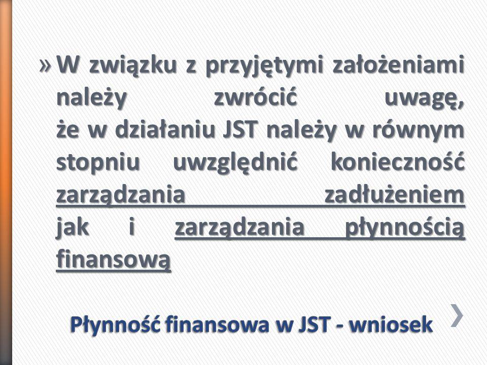 » W związku z przyjętymi założeniami należy zwrócić uwagę, że w działaniu JST należy w równym stopniu uwzględnić konieczność zarządzania zadłużeniem jak i zarządzania płynnością finansową