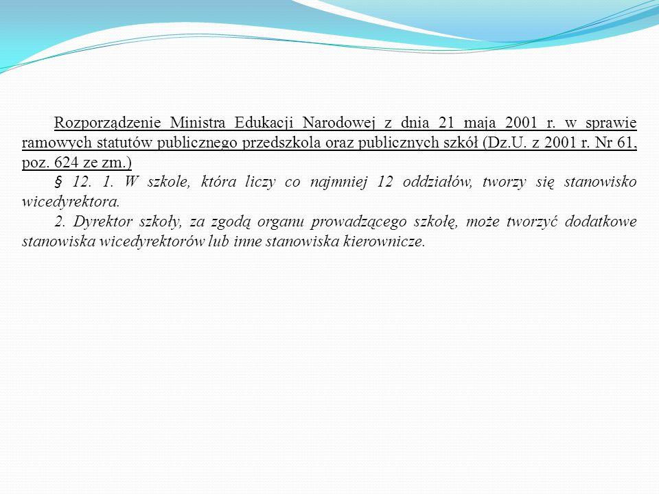 Rozporządzenie Ministra Edukacji Narodowej z dnia 21 maja 2001 r. w sprawie ramowych statutów publicznego przedszkola oraz publicznych szkół (Dz.U. z